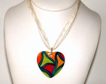 Hand painted porcelain Heart Necklace pendant
