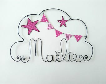 """""""Head in the stars"""" personalized wire name decor for child's room wall cloud"""