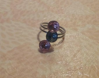 Trio of pink and blue - metal ring