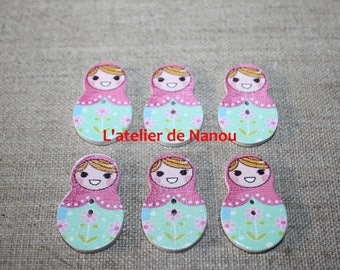 set of 6 buttons shaped wooden nesting dolls