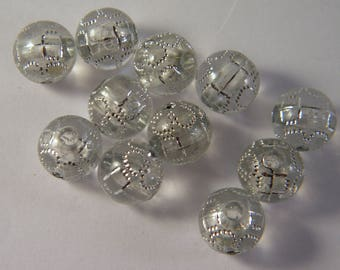 20 clear shamballa beads grey 10 mm rhinestone