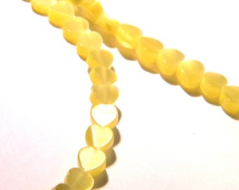 20 glass beads cat's eye - 6 mm-yellow-F206-3 heart