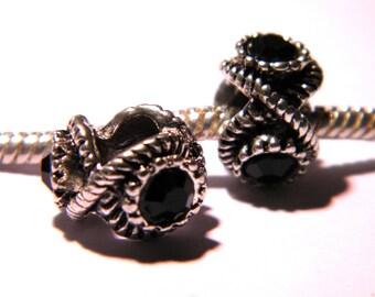 bead charm European - 3 rhinestones-black - 12 x 8.5 mm compatible pandora-PG146