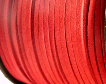 3 X 1.5 mm - 6 mm brick red suede cord 3 M