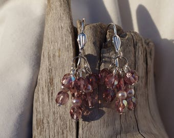 Earrings pink cluster beads