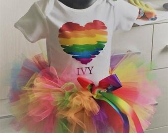 Girls rainbow tutu outfit