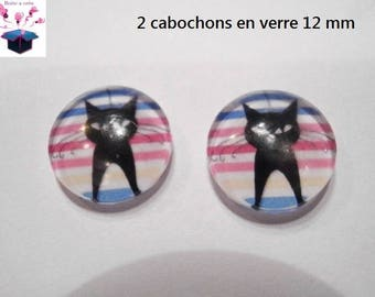 2 glass cabochons 12 mm for loop or ring striped black cat theme