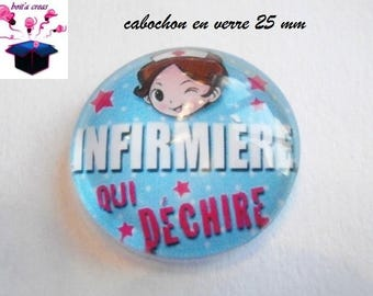 1 cabochon clear 25 mm nurse theme