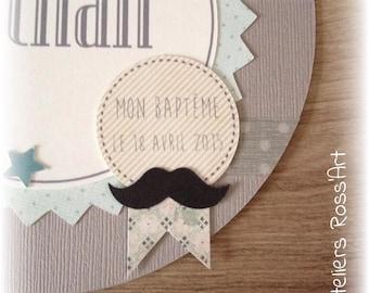 Baptism communion - mustache Theme invitation