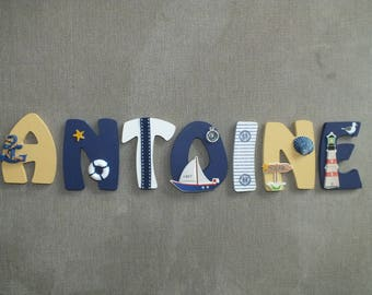 Kids name letter wooden 8cm - sea theme