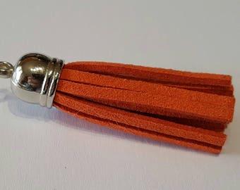 Leather suede 4 cm silver cap tassel / Orange
