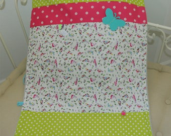 Cover birds, lime, Raspberry... lined fleece grey 55 x 75