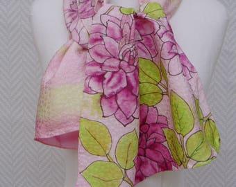 "Scarf, shawl, scarf silk and silver, pink green ""dahlias"" handpainted"