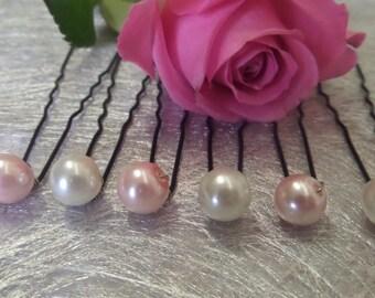 Hair pins, wedding hair pins Pearl pale pink and ivory bridal hair accessory