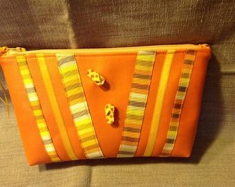 Orange vinyl pouch for summer