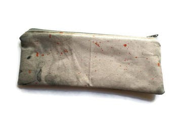 Pencil Case, Multi-use Bag, Toiletries Pouch, Fully Lined, Zippered, Watercolor Fabric