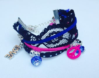 Black Lace Cuff Bracelet cords fuchsia and blue charms