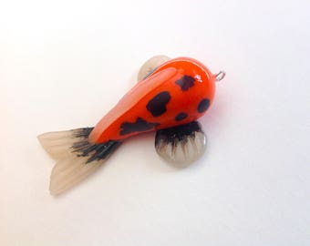Hi Utsuri Koi Fish Necklace Pendant