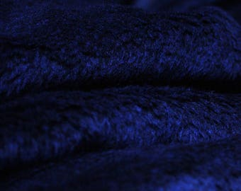 Fabric blue faux fur dark 50 x 150 cm, very soft, winter