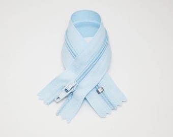 Zip closure, 16 cm, light blue, not separable