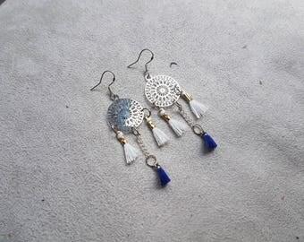 Blue and white tassel earring
