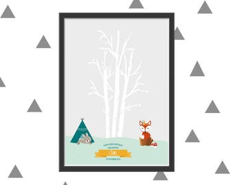 Tree print for your child's birthday or baptism