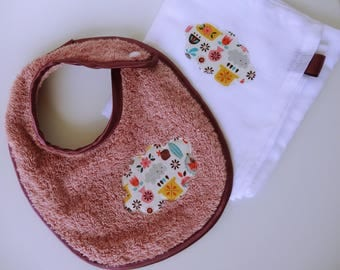 Baby bib Terry dusty rose and its matching Swaddle - birthday gift