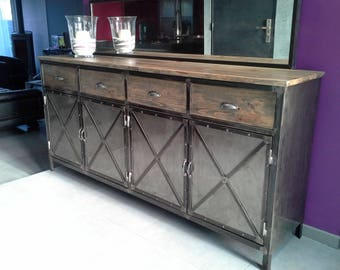 Furniture sideboard industrial steel and wood
