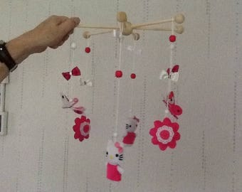 Mobile hanging baby white kittens