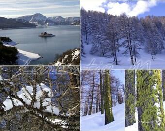 Photo 30X40cm jumble snow Risoul and greenhouse Ponçon Lake