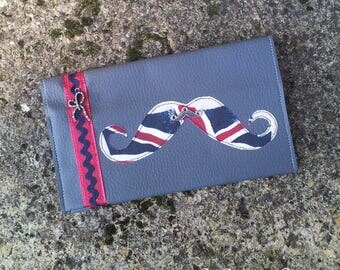 """Checkbook holder gray faux leather decorated with a mustache """"London print"""""""