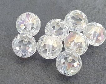 2 faceted clear iridescent AB 8 mm Crystal beads