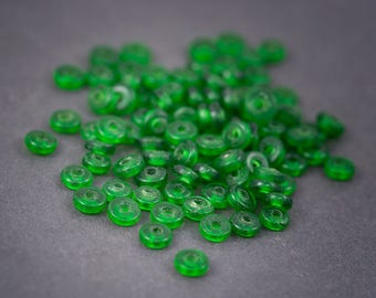 20 pcs - Indian Lampwork Glass • rondelle, round beads, spacer • green transparent 5mm