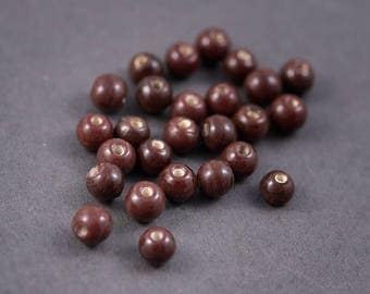 10 pcs - Indian glass beads, spacer • opaque Burgundy Brown shiny • 8mm