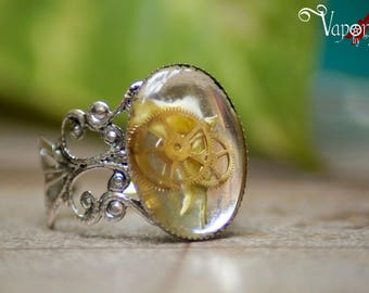 Vegetable adjustable steampunk - mechanical natural ring