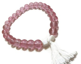 Pink and white old refined vintage glass beaded tassel bracelet
