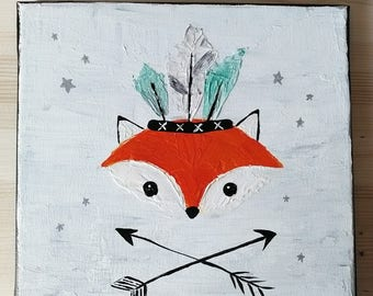 Canvas little Fox played by the Indian