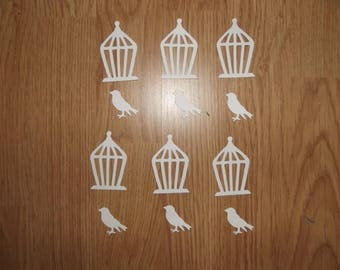 Set of 6 cages and birds for scrapbooking.