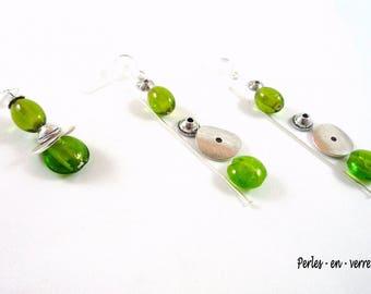 DIY! Kit Earrings silver, green pearls Apple (kit19)