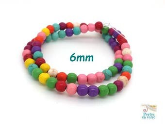 70 round Howlite beads multicolor 6mm (ph209)