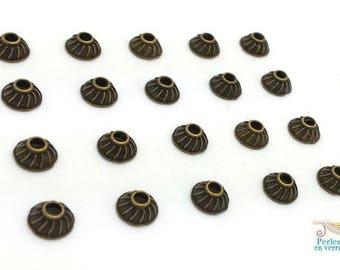 20 bead caps, bronze 3.5x6mm (AP139)