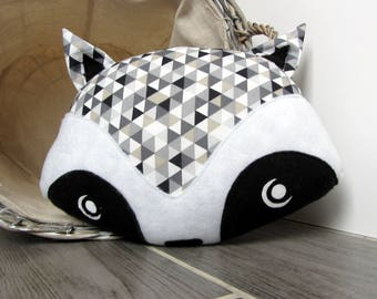 ON order pillow decorative raccoon grey triangles