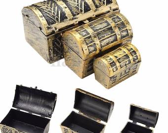 Set of 3 boxes jewelry treasure Pirate Vintage 3 sizes