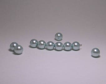 10 12MM ROUND BLUE PEARLY BEADS