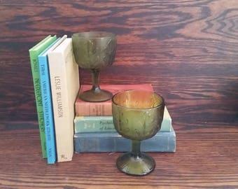 Pair of Vintage Green Oakleaf Goblets