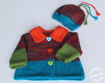 Cardigan et bonnet colorés pour bébé 3 mois