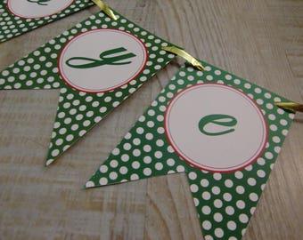 "MINI-Banderole ""Joyeux Noël"" - green dots"