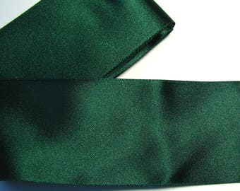 Satin ribbon, 50 mm, dark green, sold by the yard.