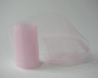 Set of 4 strips of 97 cm to 50 mm fine tulle fabric, pink.