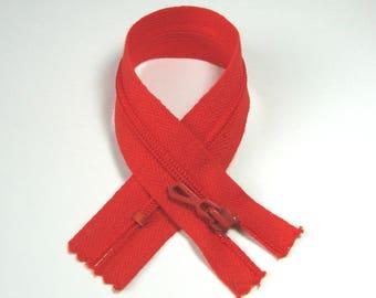 Zipper closure, 20 cm, detachable, red vermilion, 4 mm plastic mesh.